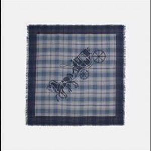 NWT Coach oversized plaid square scarf with logo